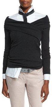 Brunello Cucinelli Cashmere-Blend Crossover Sweater