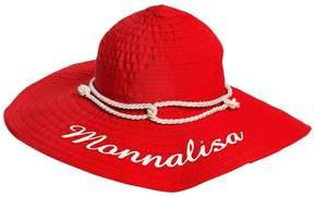 MonnaLisa Wide Brim Logo Printed Grosgrain Hat