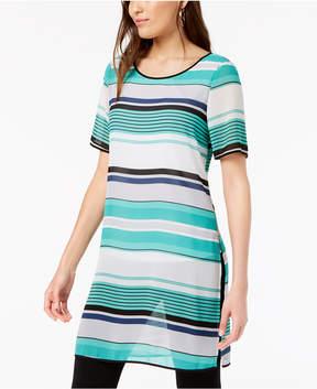Alfani Striped Short-Sleeve Tunic, Created for Macy's