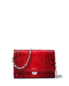 Michael Kors Yasmeen Python Clutch Bag, Red - RED - STYLE