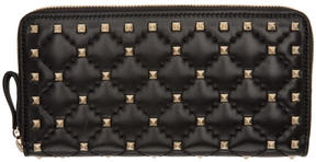 Valentino Black Garavani Rockstud Spike Continental Zip Wallet