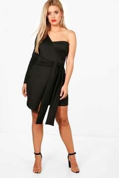 boohoo Plus Sasha One Shoulder Wrap Dress