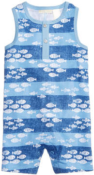 First Impressions Baby Boys Fish-Print Cotton Romper, Created for Macy's