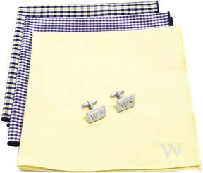 Asstd National Brand Personalized Gingham Handkerchief Set with Zircon Jewel Cufflinks
