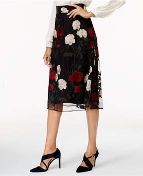 ECI Embroidered Mesh A-Line Skirt
