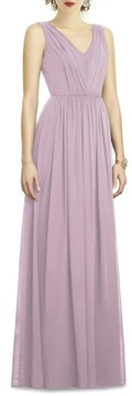 Dessy Collection Women's Shirred Shimmer Chiffon Gown