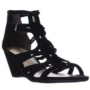 Bar III B35 Kaylan Dress Wedge Sandals, Black.