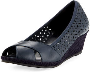 Sesto Meucci Open-Toe Espadrille Wedge, Navy