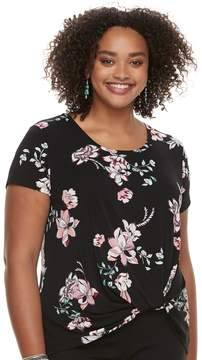 Candies Juniors' Plus Size Candie's Knot-Front Crepe Top