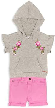 Hudson Girls' Embroidered French Terry Hoodie & Stretch Shorts Set - Baby