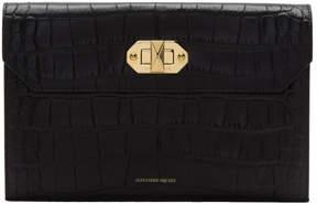 Alexander McQueen Black Croc Envelope Clutch