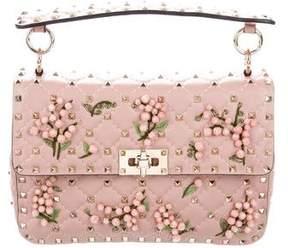 Valentino Medium Rockstud Spike Floral-Embellished Bag