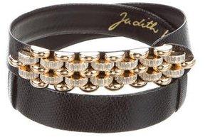 Judith Leiber Embellished Lizard Belt