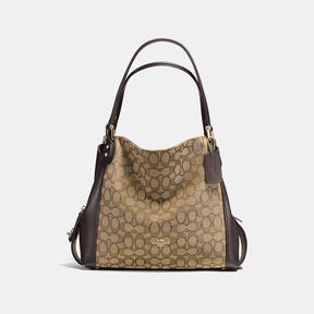 COACH Coach Edie Shoulder Bag 31 In Signature Jacquard - LIGHT GOLD/KHAKI/BROWN - STYLE