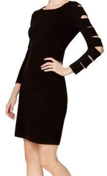 Calvin Klein Women's Cutout Sleeve Ribbed Knit Sheath Sweater Dress