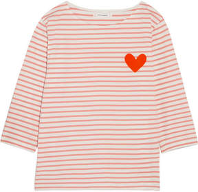 Chinti and Parker Velvet-appliquéd Striped Cotton-jersey Top - Pink