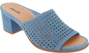 Earth Perforated Suede Slide Mules - Ibiza