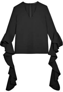 Ellery Ace Ruffled Crepe Top - Black