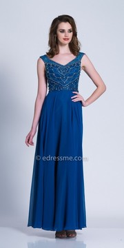 Dave and Johnny Regal Beaded Scoop Back Chiffon Evening Dress