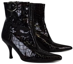 Stuart Weitzman Dark Brown Patent Leather Alligator Booties