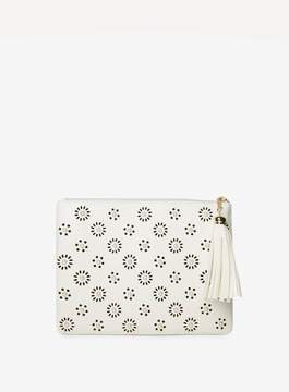 Dorothy Perkins White Laser Cut Clutch Bag