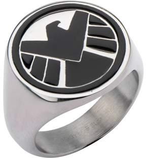 Marvel Men's Stainless Steel Black S.H.I.E.L.D Logo Ring