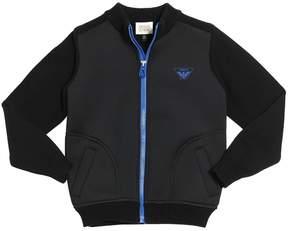 Armani Junior Cotton Knit & Neoprene Zip-Up Jacket