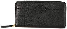 Tory Burch Mcgraw Zip Around Wallet - BLACK - STYLE