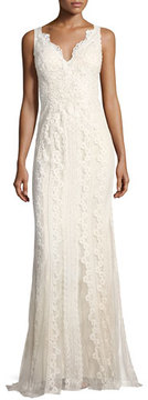 Faviana V-Neck Lace-Embroidered Dress w/ Tulle Inserts