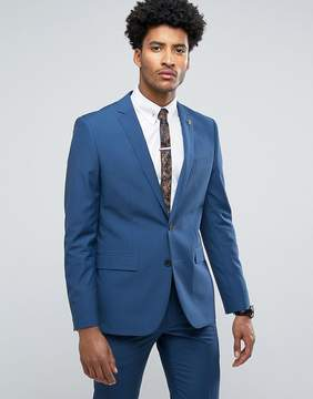 Farah Skinny Suit Jacket In Blue