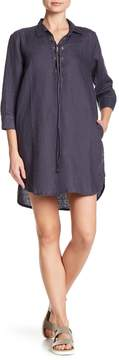 Allen Allen Lace Up 3/4 Length Sleeve Linen Dress