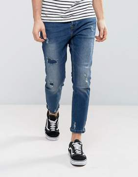 Pull&Bear Slim Jeans With Rips In Mid Wash
