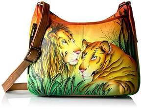 Anuschka Anna by Women's Genuine Leather Medium Hobo Handbag | Hand Painted Original Artwork | Zip-Top Crossbody | Lion in Love