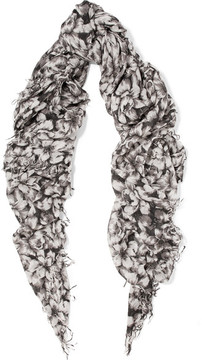 Chan Luu Printed Cashmere And Silk-blend Scarf - Gray