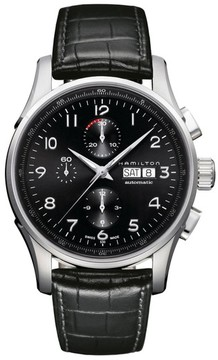 Hamilton Men's Jazzmaster Maestro Automatic Chronograph Leather Strap Watch, 45Mm