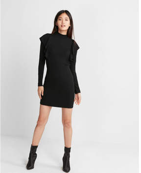 Express ruffle front ribbed dress