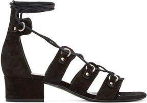 Saint Laurent Black Suede Babies Short Gladiator Sandals