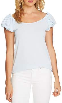 CeCe Puffed Sleeve Crepe Knit Top