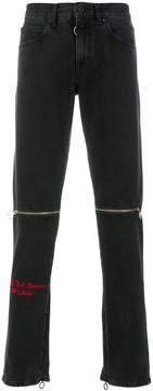 Off-White zip detail slim-fit jeans