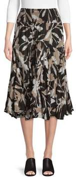 Context Pleated Tropical Silhouette Midi Skirt