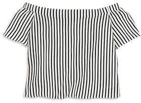 Aqua Girls' Striped Off the Shoulder Top , Big Kid - 100% Exclusive