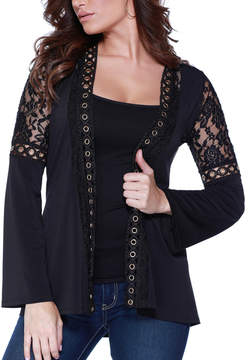 Belldini Black Lace-Insert Grommet Open Cardigan - Women