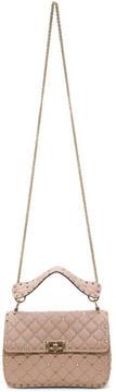 Valentino Pink Garavani Medium Rockstud Spike Matelassé Chain Bag