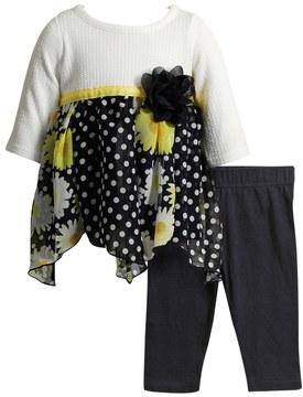 Youngland Baby Girl Knit & Chiffon Dress & Leggings Set