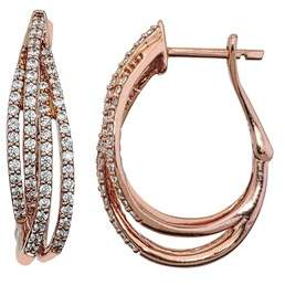 Armani Exchange Jewelry Diamond 3/4ct Hoop Earrings In 10k Rose Gold.