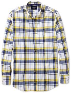 Charles Tyrwhitt Slim Fit Button-Down Poplin Navy Blue and Yellow Check Cotton Casual Shirt Single Cuff Size Medium