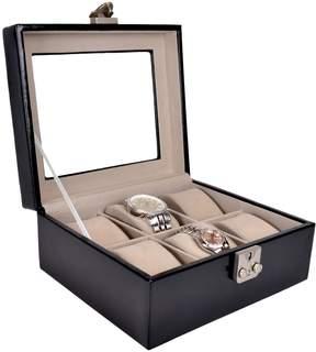 Royce Leather Men's Luxury Six Slot Watch Box Display Case