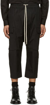 Rick Owens Black Cropped Drawstring Cargo Pants