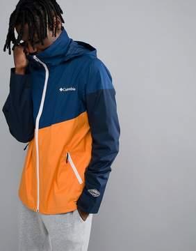 Columbia Inner Limits Waterproof Jacket Concealable Hood Shoulder Stripe Print in Navy