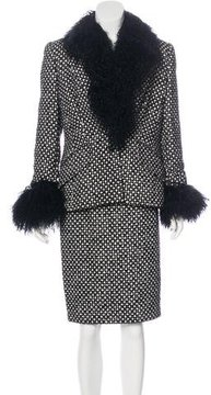 Escada Shearling-Trimmed Textured Skirt Suit